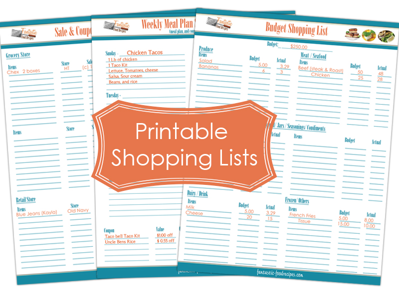 Printable Shopping Lists Make Shopping Easier - Fantastic-Food Recipes