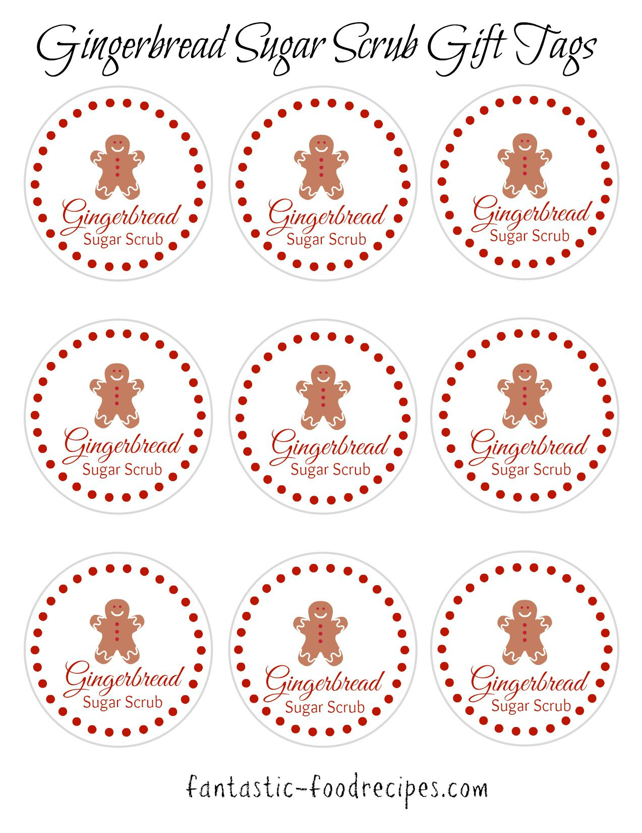 Here is the same Gingerbread Sugar Scrub Free Printable in pdf format.