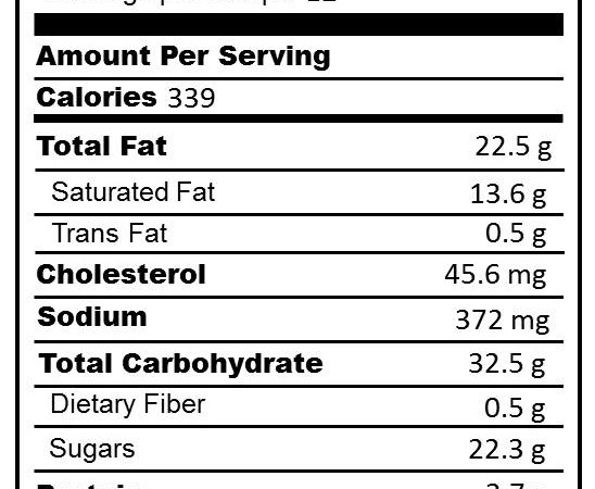 Four Layer Strawberry Dessert NUTRITION LABEL