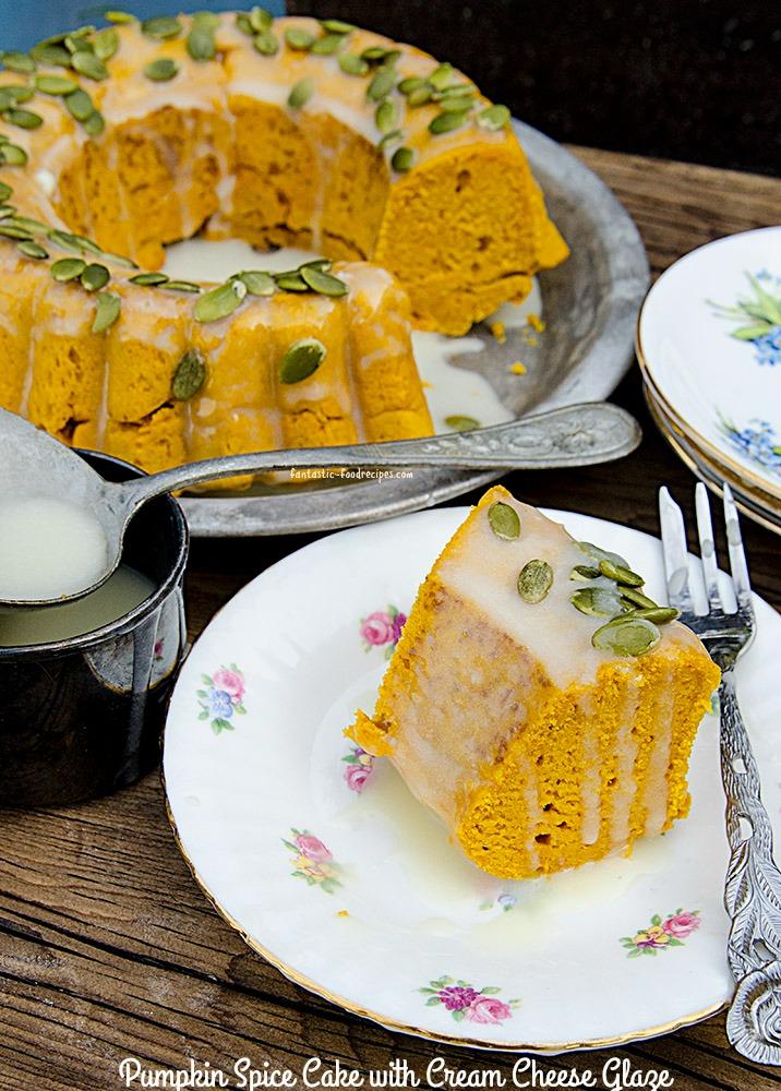 Pumpkin Spice Cake with Cream Cheese Glaze