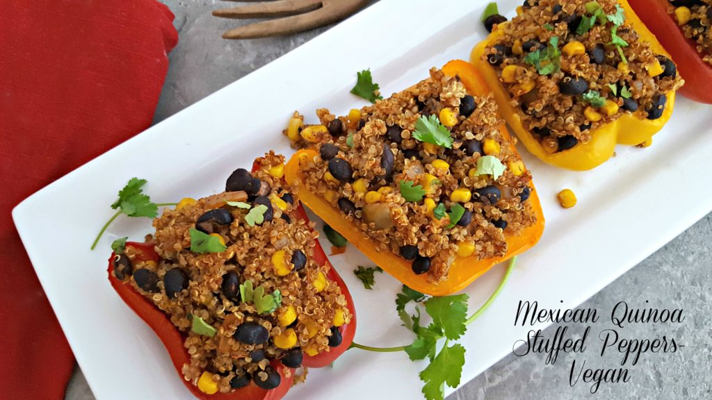 Mexican Quinoa Stuffed Peppers-Vegan