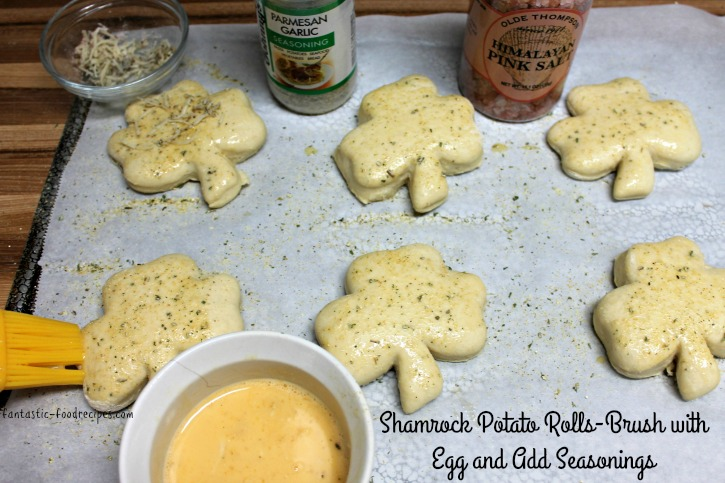Shamrock Potato Rolls- Brush with Egg and Add Seasonings